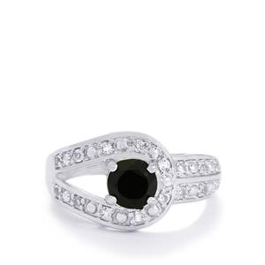 Black Spinel & White Topaz Sterling Silver Ring ATGW 1.39cts