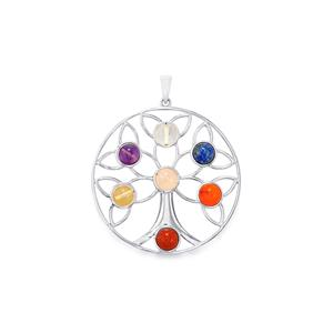 25.23ct Sterling Silver Gemstone Tree of  Life  Chakra Pendant