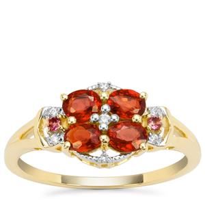 Songea Ruby, Pink Tourmaline Ring with White Zircon in 9K Gold 1cts