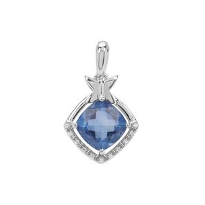 Colour Change Fluorite Pendant with White Zircon in Sterling Silver 3.36cts
