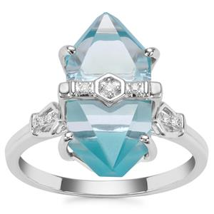 Lehrer Cosmic Obelisk Sky Blue Topaz, Sleeping Beauty Turquoise Ring with Diamond in 9K White Gold 8.79cts