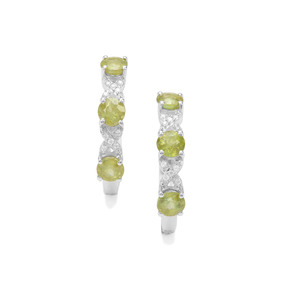 Ambilobe Sphene Earrings with White Zircon in Sterling Silver 3.04cts