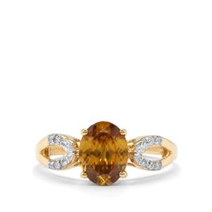 Morafeno Sphene Ring with Diamond in 18K Gold 2.09cts