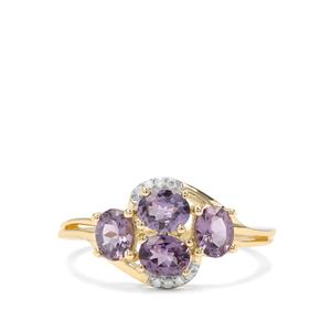 Mahenge Purple Spinel & Diamond 9K Gold Ring ATGW 1.46cts