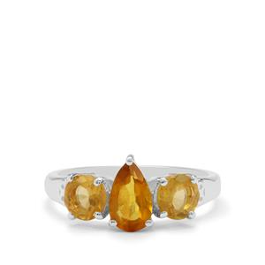 0.71ct Burmese Amber Sterling Silver Ring