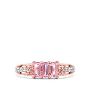 Imperial Pink Topaz & White Zircon 10K Rose Gold Ring ATGW 0.96cts