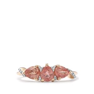 Padparadscha Sapphire Ring with Diamond in 9K Gold 1.43cts