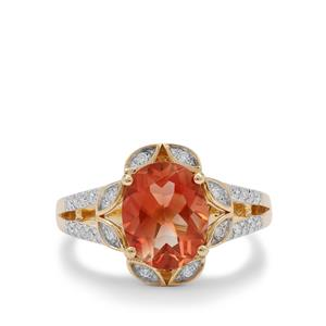 Oregon Cherry Sunstone Ring with Diamond in 18K Gold 2.40cts