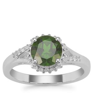 Chrome Diopside Ring with White Zircon in Sterling Silver 1.67cts