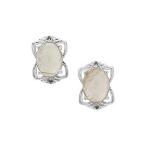 Menderes Diaspore Earrings with Green Diamond in Sterling Silver 2.79cts