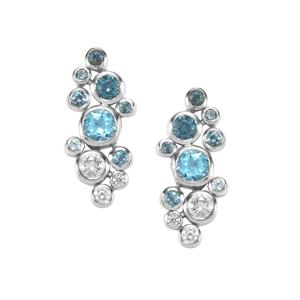 Marambaia London Blue, Swiss Blue Topaz Essencia Earrings with White Zircon in Sterling Silver 1.77cts