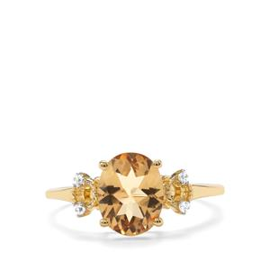 Mansa Beryl Ring with White Zircon in 9K Gold 1.71cts