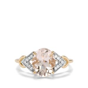 Rose Danburite Ring with White Zircon in 9K Gold 2.47cts