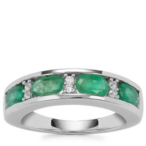 Zambian Emerald Ring with White Topaz in Sterling Silver 1.74cts