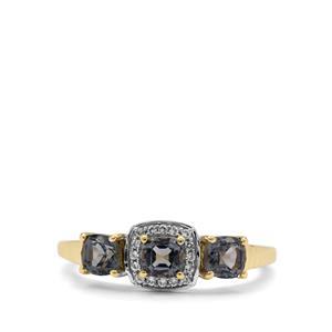 Burmese Grey Spinel & White Zircon 9K Gold Ring ATGW 1.25cts