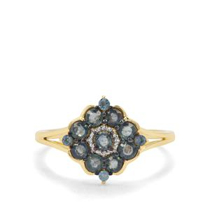 Natural Nigerian Blue Sapphire & London Blue Topaz 9K Gold Ring ATGW 0.87ct