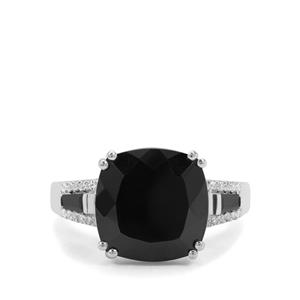 Black Spinel & White Zircon Sterling Silver Ring ATGW 8.10cts