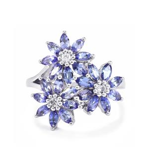 Tanzanite Ring with White Topaz in Sterling Silver 2.24cts