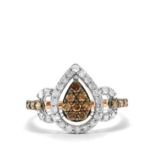 3/4ct Champagne & White Diamond 10K Rose Gold Ring