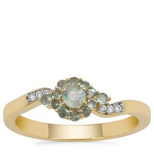 Alexandrite Ring with White Zircon in 9K Gold 0.42ct