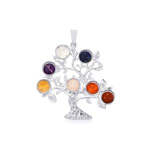 25.23ct Sterling Silver Gemstone Chakra Tree Pendant