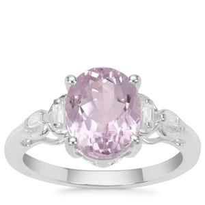 Brazilian Kunzite Ring with White Zircon in Sterling Silver 3.68cts