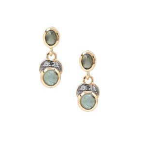 Cats Eye Alexandrite Earrings with White Zircon in 9K Gold 1.50cts