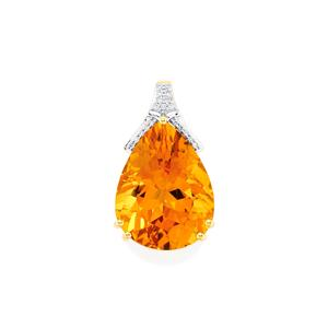 Rio Golden Citrine Pendant with Diamond in 14K Gold 15.18cts