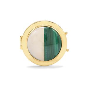 Malachite Locket with White Agate in Gold Plated Sterling Silver 17.44cts