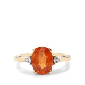 Mandarin Garnet Ring with Diamond in 18K Gold 3.77cts
