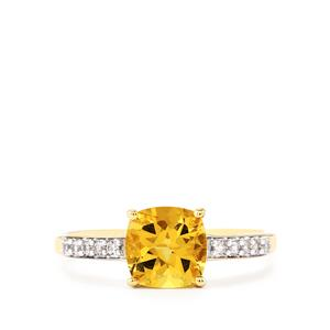 Amarelo Beryl Ring with White Zircon in 9k Gold 1.42cts