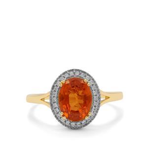 Mandarin Garnet Ring with White Zircon in 9K Gold 2.95cts