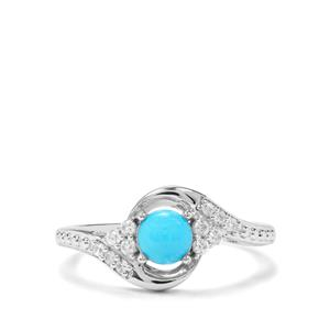 Sleeping Beauty Turquoise & White Zircon Sterling Silver Ring ATGW 0.74cts