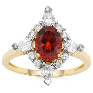 Singida Marsala Zircon Ring with White Zircon in 9K Gold 3.04cts