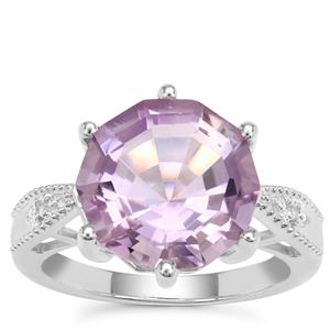 Rose De France Amethyst Ring with White Zircon in Sterling Silver 6.82cts