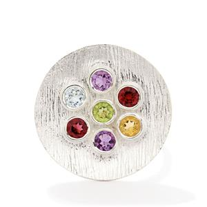 Multi-Color Gemstone Sterling Silver Ring ATGW 2.50cts