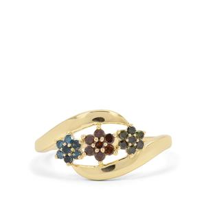 1/4ct Multi Colour Diamond 9K Gold Ring