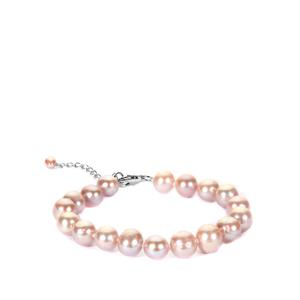Naturally Coloured Pink Cultured Pearl Sterling Silver Bracelet (9 x 8mm)