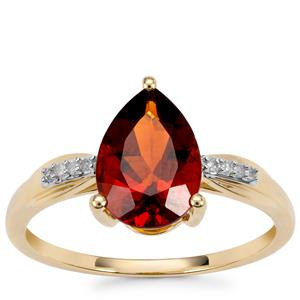 Madeira Citrine Ring with Diamond in 9K Gold 1.54cts