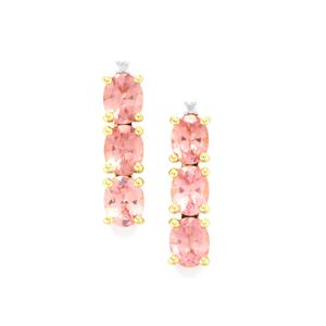 Mozambique Pink Spinel Earrings with Diamond in 10k Gold 2.14cts