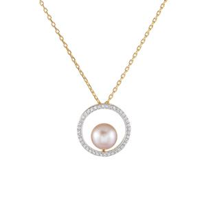 Kaori Cultured Pearl & White Topaz Gold Plated Sterling Silver Necklace (9mm)