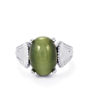Green Cat's Eye Ring in Sterling Silver 7.71cts