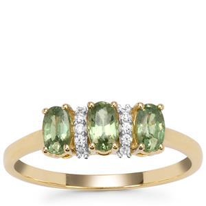 Green Dragon Demantoid Garnet Ring with White Zircon in 9K Gold 0.95ct