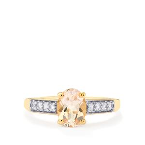 Mutala Morganite Ring with White Zircon in 10k Gold 1.24cts
