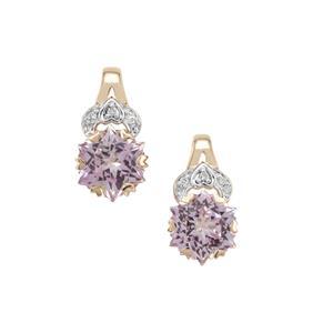 Wobito Snowflake Cut Pink Minx Topaz & Diamond 9K Gold Earrings ATGW 5.70cts