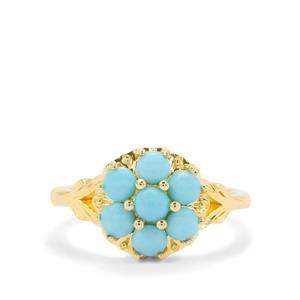 Sleeping Beauty Turquoise Ring in Gold Plated Sterling Silver 0.95cts
