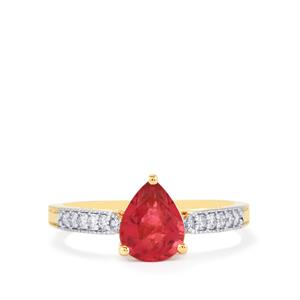 Nigerian Rubellite Ring with Diamond in 18K Gold 1.34cts