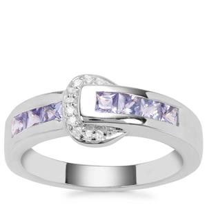 Tanzanite Ring with White Zircon in Sterling Silver 0.74ct