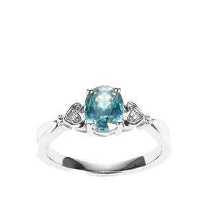 Ratanakiri Blue Zircon Ring with White Topaz in Sterling Silver 2.08cts