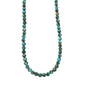 Egyptian Turquoise Graduated Bead Necklace in Sterling Silver 61cts